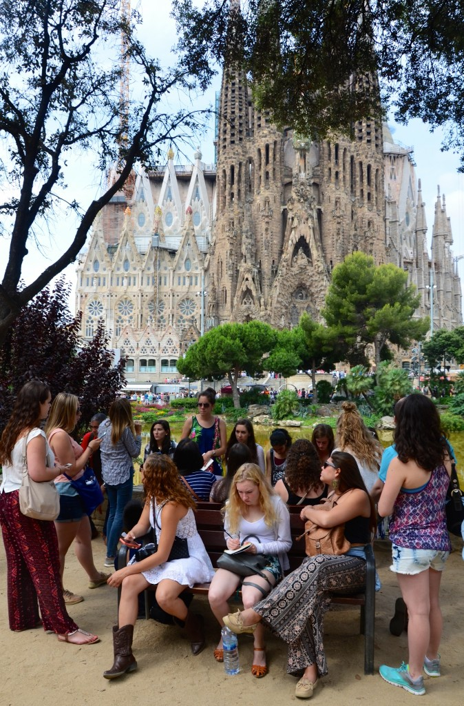 Students giving a report on the Sagrada Familia, Barcelona